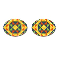 Background Geometric Color Plaid Cufflinks (oval)