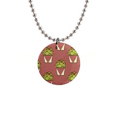 Cactus Pattern Background Texture 1  Button Necklace
