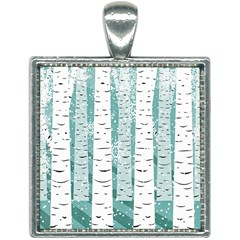 Birch Tree Background Snow Square Necklace