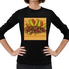 Chestnuts Fruits Autumn Women s Long Sleeve Dark T Shirt