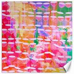 Champagne Glass Red Wine Paint Canvas 16  X 16
