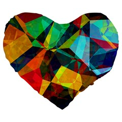 Color Abstract Polygon Background Large 19  Premium Heart Shape Cushions