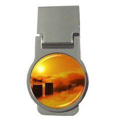 City Sun Clouds Smog Sky Yellow Money Clips (round)