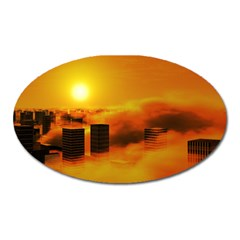 City Sun Clouds Smog Sky Yellow Oval Magnet
