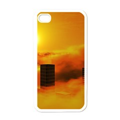 City Sun Clouds Smog Sky Yellow Apple Iphone 4 Case (white)