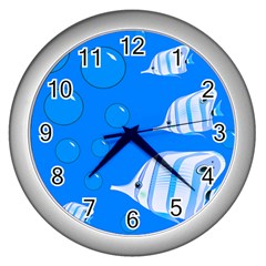Fish School Bubbles Underwater Sea Wall Clock (silver)