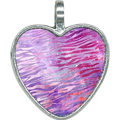 Funny Galaxy Tiger Pattern Heart Necklace by tarastyle