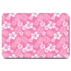 Colorful Tropical Hibiscus Pattern Large Doormat  by tarastyle