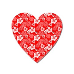 Colorful Tropical Hibiscus Pattern Heart Magnet by tarastyle