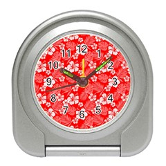 Colorful Tropical Hibiscus Pattern Travel Alarm Clock