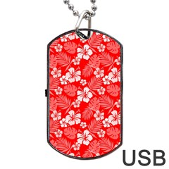 Colorful Tropical Hibiscus Pattern Dog Tag Usb Flash (two Sides) by tarastyle
