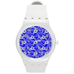 Colorful Tropical Hibiscus Pattern Round Plastic Sport Watch (m)