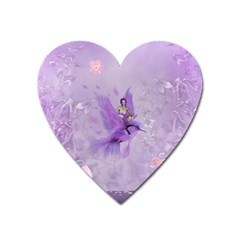 Fairy With Fantasy Bird Heart Magnet by FantasyWorld7