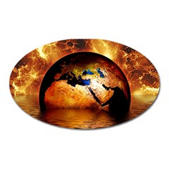 Earth Globe Water Fire Flame Oval Magnet