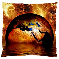 Earth Globe Water Fire Flame Large Flano Cushion Case (two Sides)