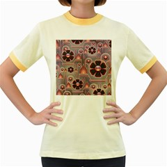 Floral Flower Stylised Women s Fitted Ringer T Shirt