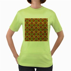 Geometry Shape Retro Women s Green T Shirt