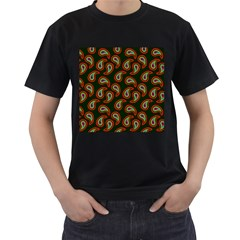 Pattern Abstract Paisley Swirls Men s T Shirt (black) (two Sided) by AnjaniArt