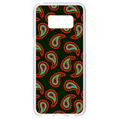 Pattern Abstract Paisley Swirls Samsung Galaxy S8 White Seamless Case by AnjaniArt