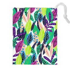 Leaves Rainbow Pattern Nature Drawstring Pouch (xxl)