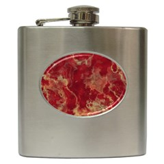 Marble Red Yellow Background Hip Flask (6 Oz)