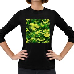 Marijuana Camouflage Cannabis Drug Women s Long Sleeve Dark T Shirt