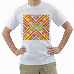 Line Pattern Cross Print Repeat Men s T Shirt (white) (two Sided)