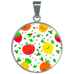 Pattern Fruits Orange Green 30mm Round Necklace