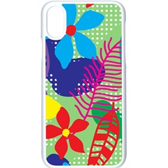 Pattern Leaf Polka Floral Apple Iphone X Seamless Case (white)