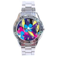 Pattern Leaf Polka Leaves Stainless Steel Analogue Watch