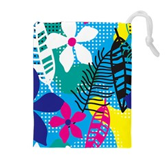 Pattern Leaf Polka Flower Drawstring Pouch (xl)