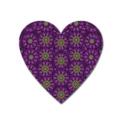 Ornate Heavy Metal Stars In Decorative Bloom Heart Magnet by pepitasart