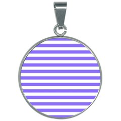Lilac Purple Stripes 30mm Round Necklace by snowwhitegirl