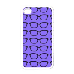 Nerdy Glasses Purple Apple Iphone 4 Case (white)