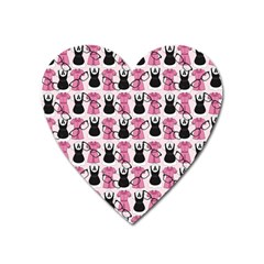 Waitress Uniform Dresses Nerdy Glasses Pattern Pink Heart Magnet by snowwhitegirl