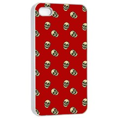 Skull Red Pattern Apple Iphone 4/4s Seamless Case (white)