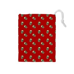 Skull Red Pattern Drawstring Pouch (medium)