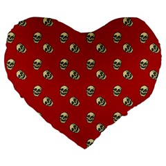 Skull Red Pattern Large 19  Premium Flano Heart Shape Cushions