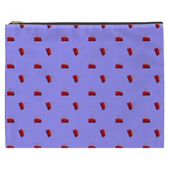 Candy Apple Lilac Pattern Cosmetic Bag (xxxl)