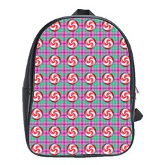 Peppermint Candy Pink Plaid School Bag (large)