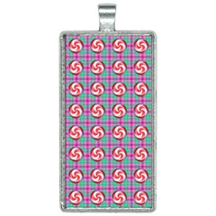 Peppermint Candy Pink Plaid Rectangle Necklace