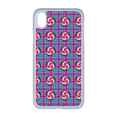 Peppermint Candy Pink Plaid Apple Iphone Xr Seamless Case (white)