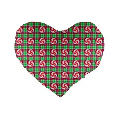 Peppermint Candy Green Plaid Standard 16  Premium Flano Heart Shape Cushions