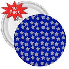Silver Stars Royal Blue 3  Buttons (10 Pack)  by snowwhitegirl