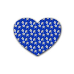 Silver Stars Royal Blue Rubber Coaster (heart)