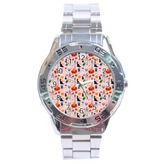 Halloween Treats Pattern Pink Stainless Steel Analogue Watch