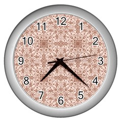 Ornamental Brown Wall Clock (silver)