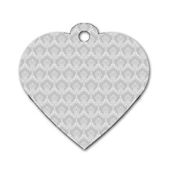 Damask Grey Dog Tag Heart (one Side)