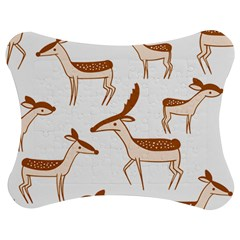 Seamless Animals Deer Pattern Jigsaw Puzzle Photo Stand (bow)