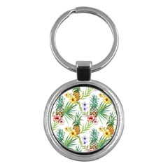 Tropical Pineapples Pattern Key Chains (round)